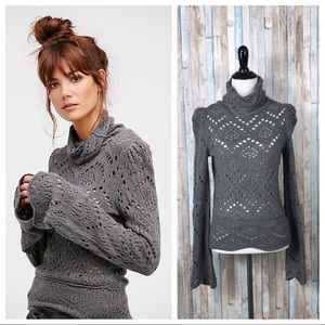 Free People XS Cutout Shoot from the Heart Sweater